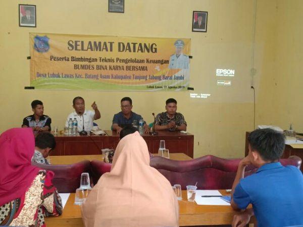 Bimtek Pengelolaan Keuangan BUM Desa Bina Karya Bersama Desa Lubuk Lawas.